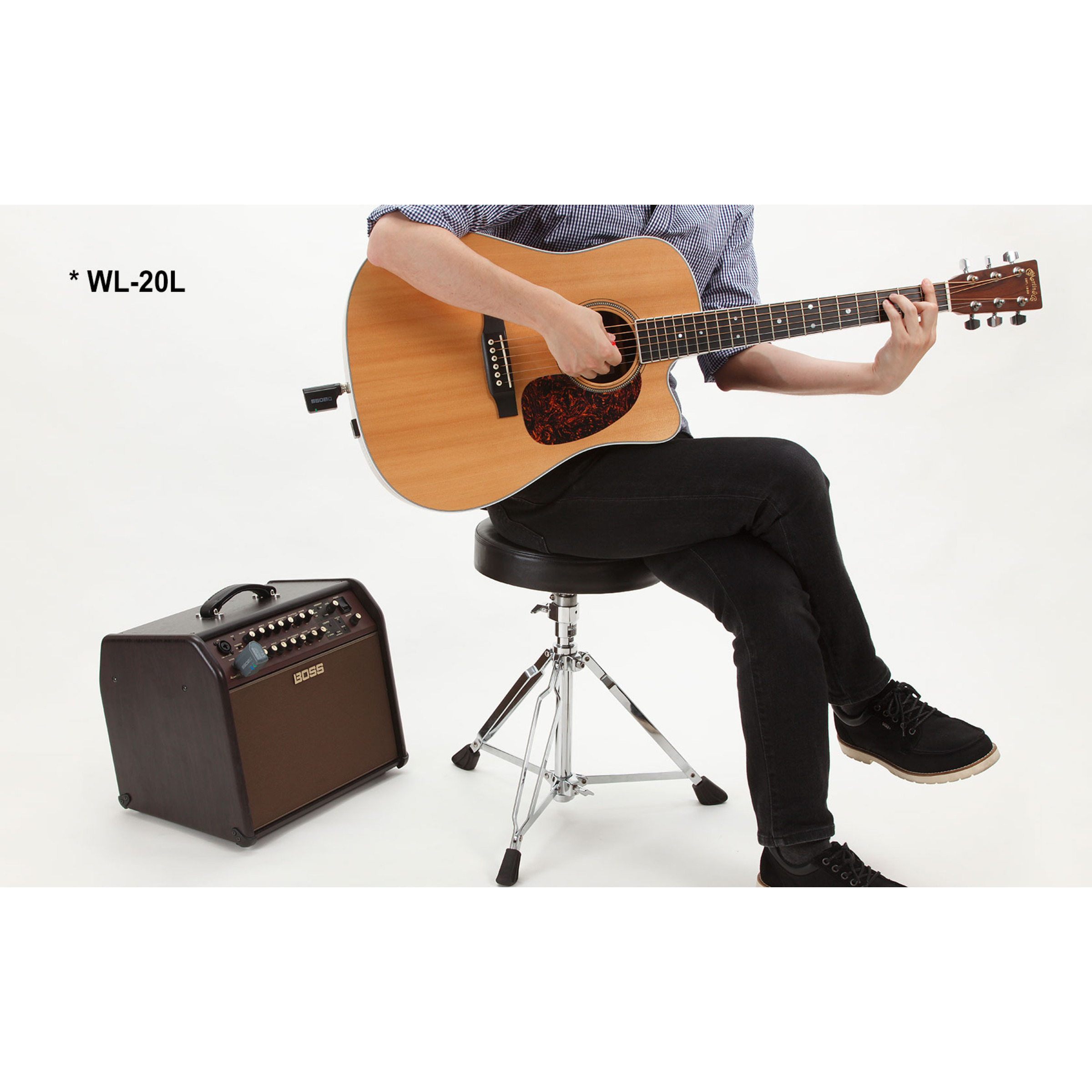boss wl20l compact wireless guitar system for active pickups electro acoustics giggear