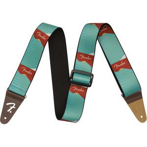Fender Icon Series Nylon Guitar Strap - Headstock Sunrise Turquoise