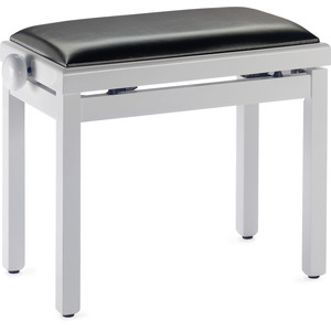 Stagg Complete Height Adjustable Piano Bench - Polished White With Black Vinyl Top