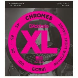 D'addario ECB81 Chromes Flat Wound Bass Strings - 45-100