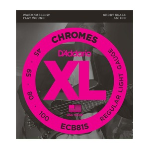 D'addario Chrome Bass Regular Light Flat Wound set SHORT Scale - 45-100