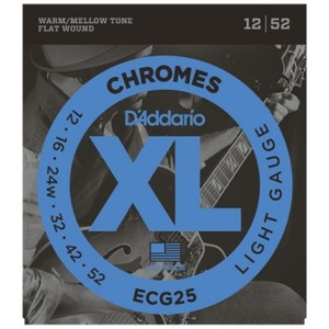 D'addario ECG25 Chromes Flat Wound Electric Guitar Strings - 12-52