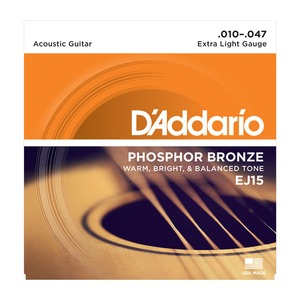D'addario EJ15 Phosphor Bronze Acoustic Strings - 10-47