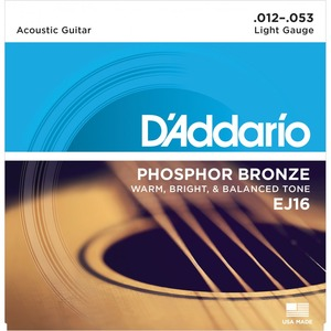 D'addario EJ16 Phosphor Bronze Acoustic Strings - 12-53
