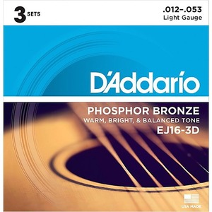 D'addario D'Addario EJ16 Phosphor Bronze Acoustic Strings 12-53 - 3 Pack