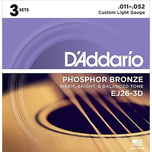 D'addario D'Addario EJ26 Phosphor Bronze Acoustic Strings 11-52 - 3 pack