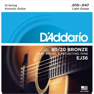 D'addario EJ36 80/20 Bronze 12 String Acoustic Strings - 10-47