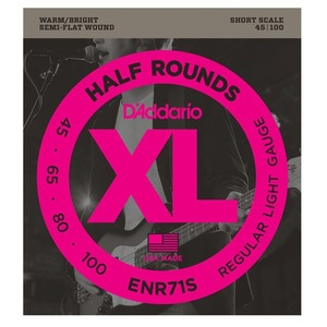 D'addario ENR71 Half Round Bass Strings SHORT SCALE - 45-100