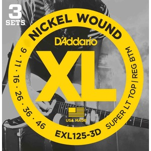 D'addario EXL125-3D Electric Guitar Strings 9-46 - 3 Sets