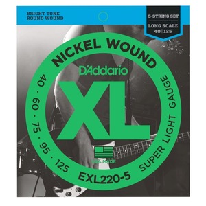 D'addario EXL220-5 Nickel Bass 5 String Super Light 40-125