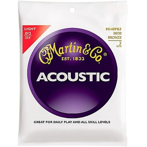 Martin M140 Light Gauge Acoustic Strings - 3 Pack