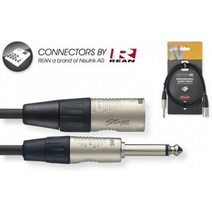 "Stagg N-Series Male XLR - Mono 1/4"" Jack Cable - 1 Metre"