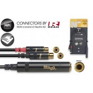 "Stagg N-Series Stereo 1/4"" Jack Socket - 2 x Female RCA - 10cm"