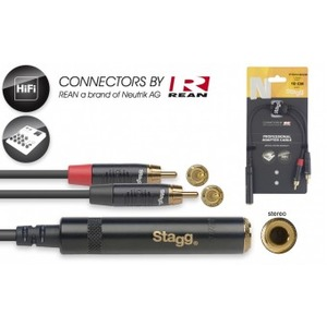 "Stagg N-Series Stereo 1/4"" Jack Socket - 2 x Male RCA - 10cm"