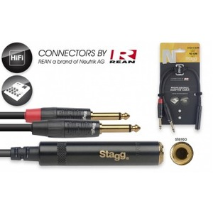 """Stagg N-Series Stereo 1/4"""" Jack Socket - 2 x 1/4"""" Jack - 10cm"""