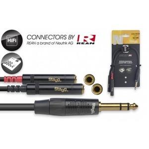 "Stagg N-Series Stereo 1/4"" Jack - 2 x Mono 1/4"" Jack Socket - 10cm"