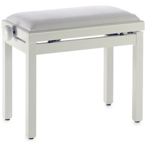 Stagg Complete Height Adjustable Piano Bench - Matt White With White VELVET Top