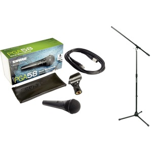 Shure PG Alta PGA58 Mic and Boom Stand Package - XLR-XLR