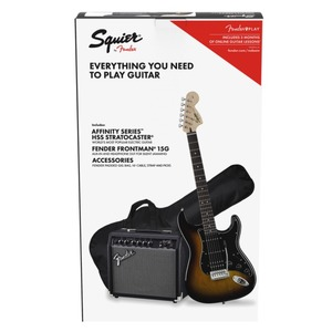 Squier HSS Strat Package with 15G Amp - Brown Sunburst