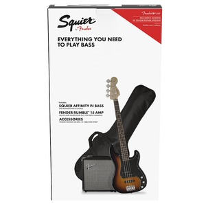 Squier Affinity PJ Bass Package with Rumble 15 Amp - Brown Sunburst
