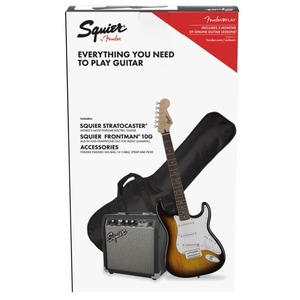Squier Strat Package with 10G Amp - Brown Sunburst