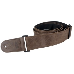 Leather Graft Adjustable Stretched Leather/Poly Guitar Strap - Brown