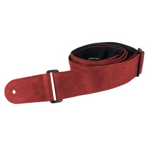 Leather Graft Adjustable Stretched Leather/Poly Guitar Strap - Red