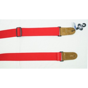 Leather Graft Adjustable Cotton Web Guitar Strap - Red
