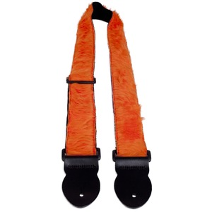 Leather Graft Fun Fur Guitar Strap - Orange