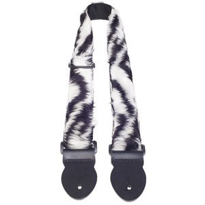 Leather Graft Fun Fur Guitar Strap Extra Long - Zebra - Extra Long