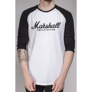 Marshall Black/White Long Sleeve Baseball Tee T-Shirt - Script Logo