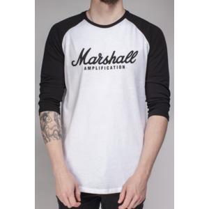 Marshall Black/White Long Sleeve Baseball Tee T-Shirt - Script Logo