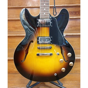 Burny RSA-65 Double Cut Semi Hollow Electric Guitar - Brown Sunburst