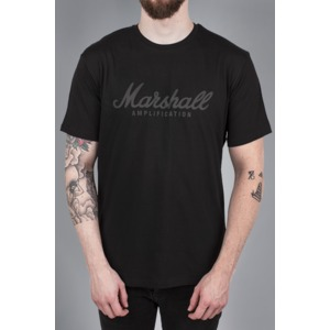 Marshall Black Standard Tee Mens T-Shirt - Black Cracked Script