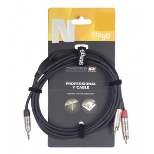 Stagg N-Series Stereo Mini Jack - 2 x Male RCA Cable