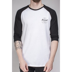 Marshall Black/White Long Sleeve Baseball Tee T-Shirt - Logo Roundel