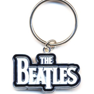 Official Beatles Drop T Logo White Key Ring