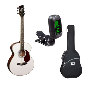 Brunswick BF200 Acoustic Guitar Package with Bag & Tuner - White