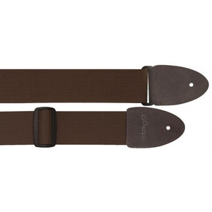 Stagg Cotton Guitar Strap With Suede Ends - Brown