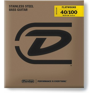 Jim Dunlop Stainless Steel FLAT WOUND Bass Strings - Medium Scale 40-100