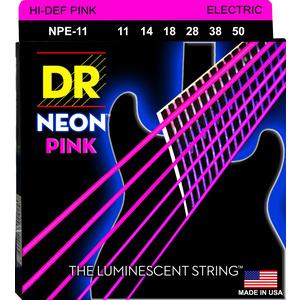 DR Hi-Def Coated Guitar Strings Neon Pink - 11-49