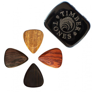 Timber Tones 4 Pick Tin of Wooden Picks for Electric Guitar