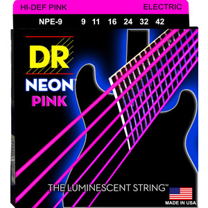 DR Hi-Def Coated Guitar Strings Neon Pink - 9-42