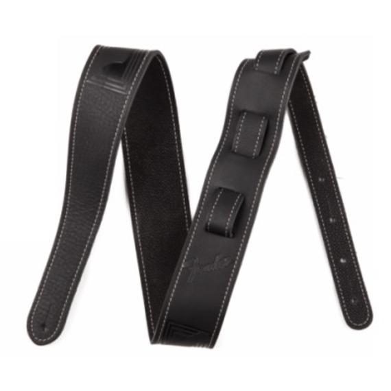 Fender Monogram Leather Guitar Strap - Black