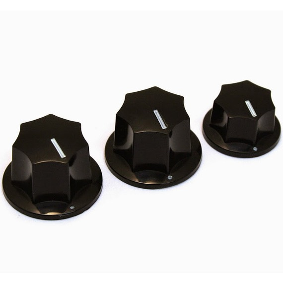 Fender Skirted Jazz Bass Knobs - Black