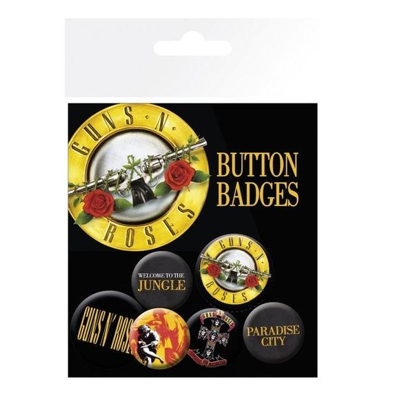 Official Guns N Roses Badge Set - Set of 6