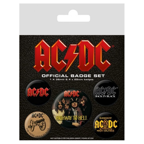 Official AC/DC Badge Set - Set of 5