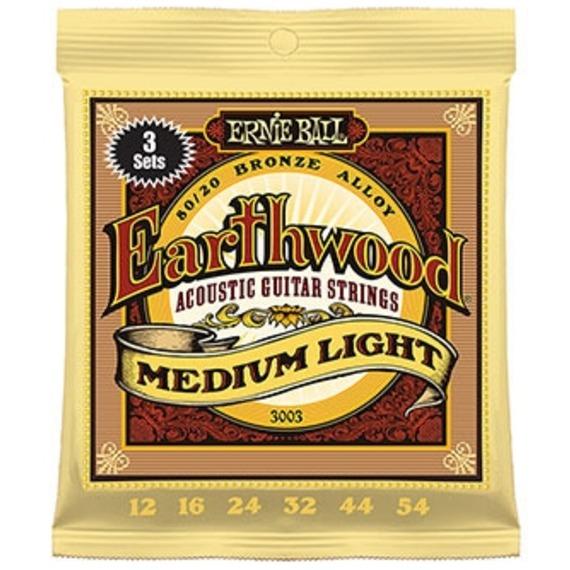 Ernie Ball Earthwood Medium Light Acoustic Strings 12-54 - 3 SETS