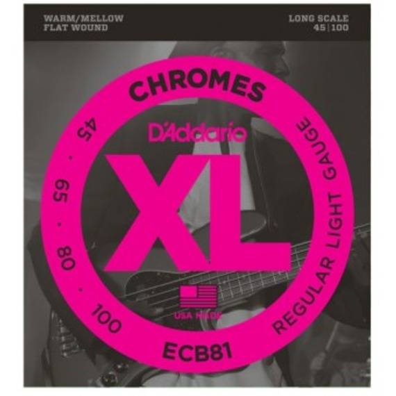 D'addario ECB81 Chromes Flat Wound Bass Strings - 45-100