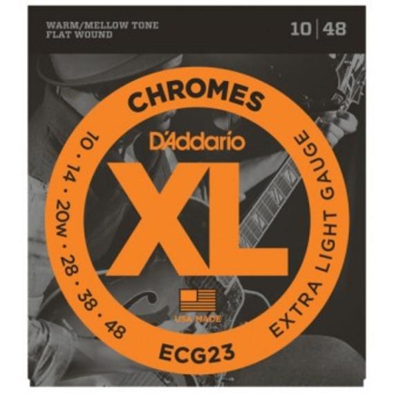 D'addario ECG23 Chromes Flat Wound Electric Guitar Strings - 10-48